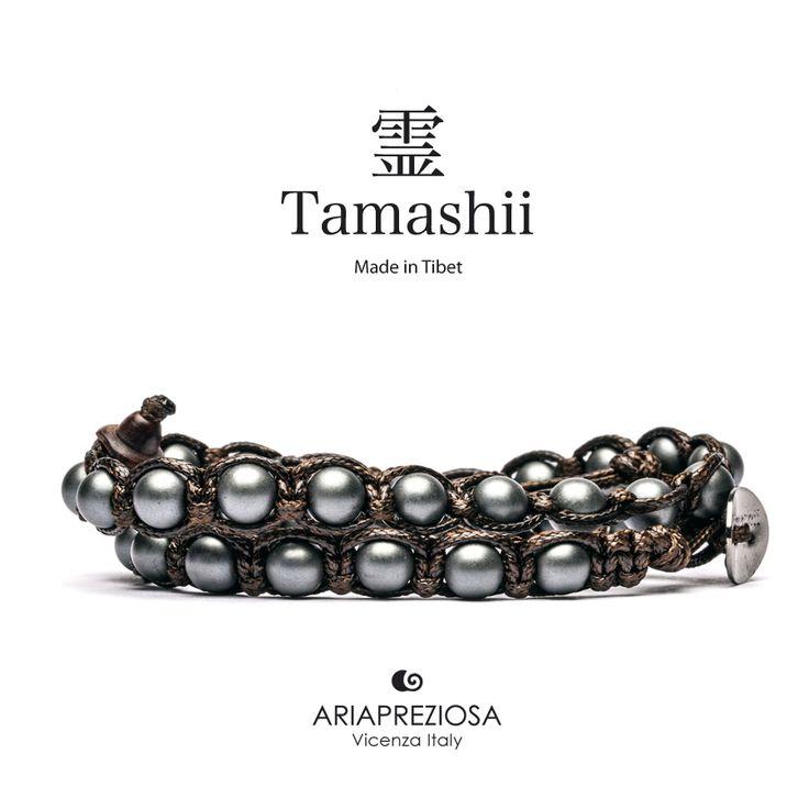 Tamashii - Bracciale Lungo Tradizionale Tibetano 2 giri Ematite Satinata