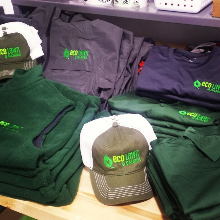 Eco Lawns getting some new swag! #embroideredlogos #embroidery #businessapparel
