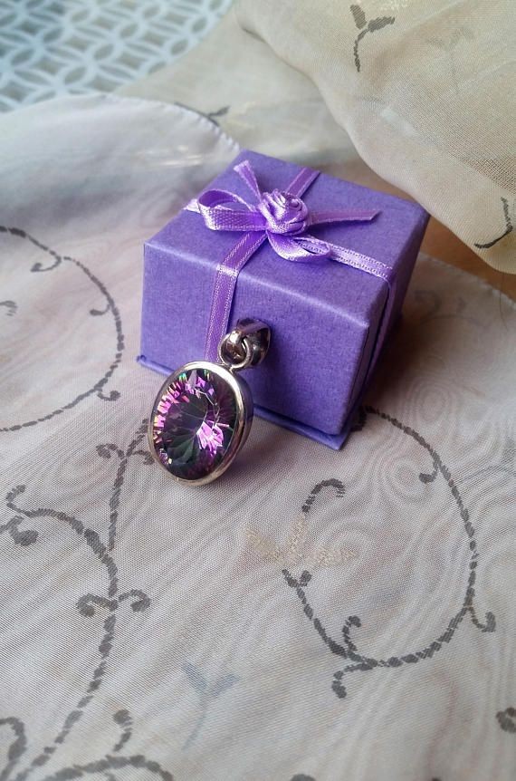 Vintage multi-faceted Purple and green Topaz in 925 silver