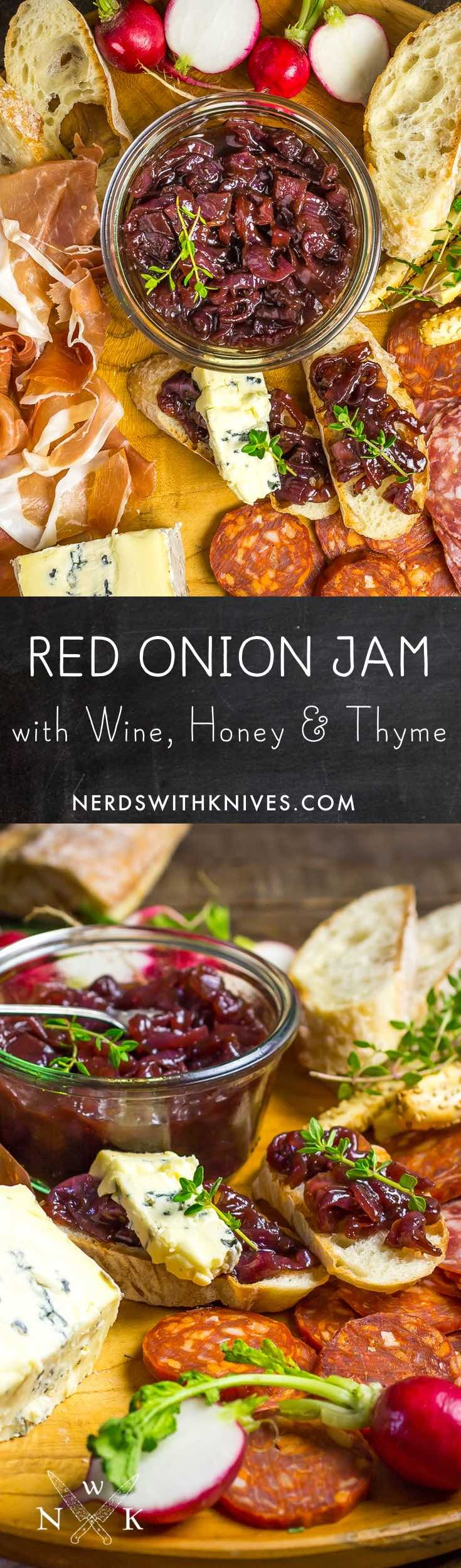 Sweet, savory and just plain delicious, Red Onion Jam with Wine, Honey and Thyme is a perfect addition to any cheese or charcuterie board.