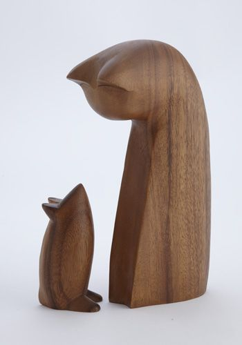 Cat & Mouse Wood Sculpture Set, Sculpture, Home Furnishings - The Museum…