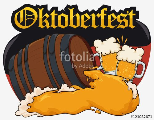 Design for Oktoberfest with Beer Barrel, Cheers forming Germany Flag