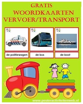 Leuke herkenbare woordkaarten vervoer/transport. Download gratis op de site van www.peuteractiviteitenweb.nl