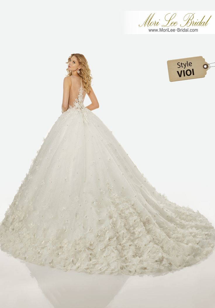 Style VIOI BRANDI WEDDING DRESS Diamante and Crystal Beaded, Floral Appliqués and Embroidery on an Illusion Bodice with Extra Full, Princess Tulle Ball Gown Over Sequined Tulle.Colors: DIAMOND WHITE, SOMETHING BLUEVelo Style: V3424