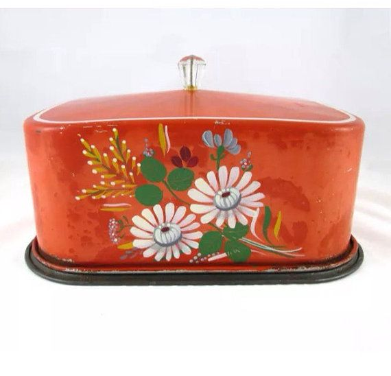 1930's Metal Carlton Cake Saver Chippy Reddish Orange by RetroHand