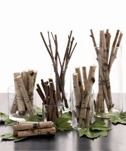 Birch twig branch vases for an inexpensive fall or winter wedding reception.