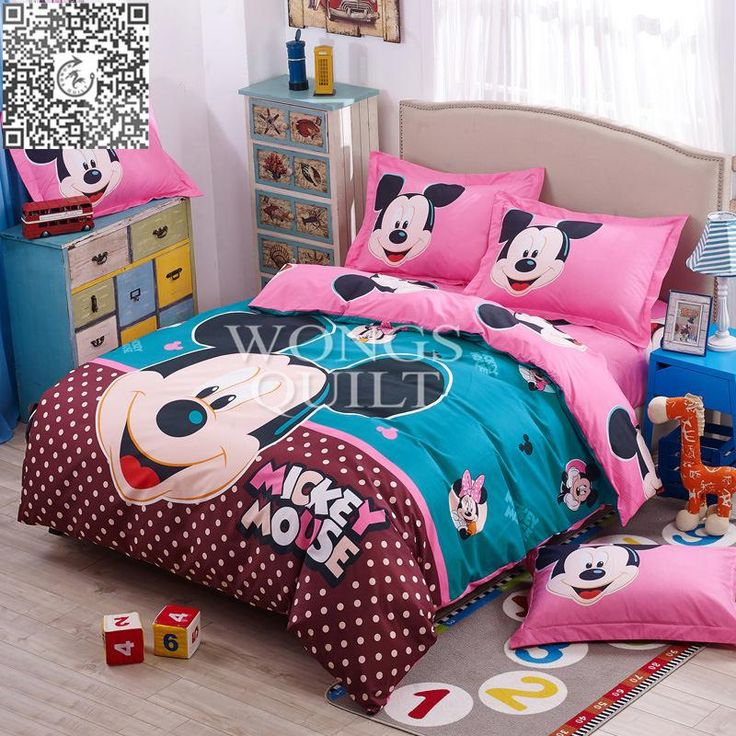 2015 New Discount Bedding Sets Polyester Mickey Mouse Printing Duvet Cover Set Full Queen Size Bed Home Textiles for sale