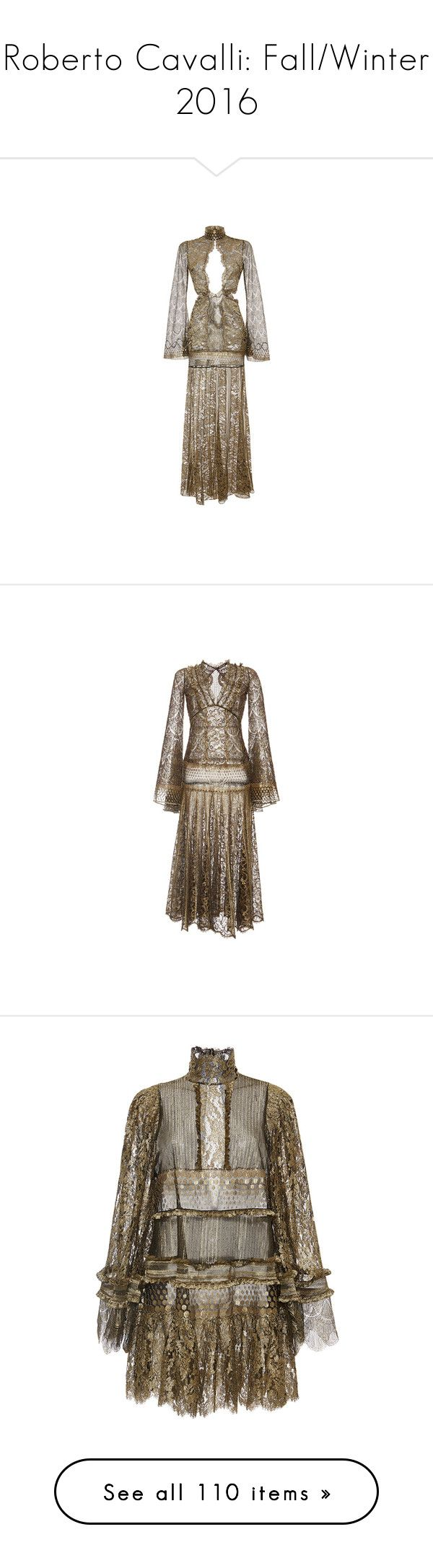 """""""Roberto Cavalli: Fall/Winter 2016"""" by livnd ❤ liked on Polyvore featuring collection, robertocavalli, fallwinter2016, dresses, brown dress, a line cocktail dress, long lace dress, brown cocktail dress, long dresses and metallic lace dress"""
