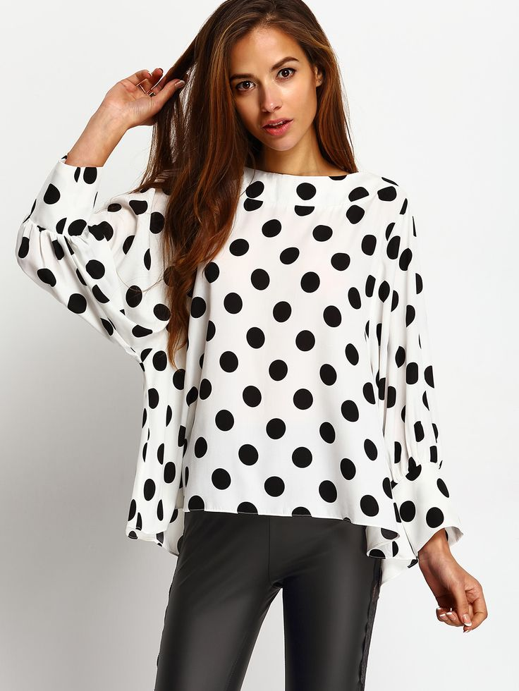 Black+Polka+Dots+Batwing+Sleeve+Blouse+21.90