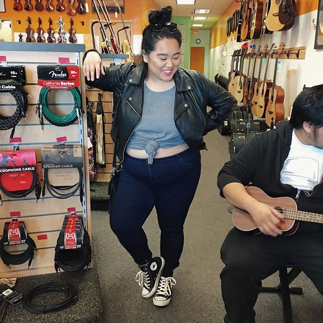 trying to be rock n roll in a music store #ootd  top (its a ribbed dressed tied up!): #target jeans: #primark shoes: #converse jacket: #forever21plus