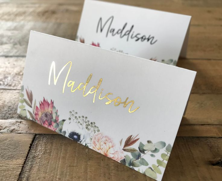 A Floral King Protea | Anemone | Greenery Place Card | Tent Card | Escort Card with watercolour | watercolor king protea, white anemone flowers and greenery.