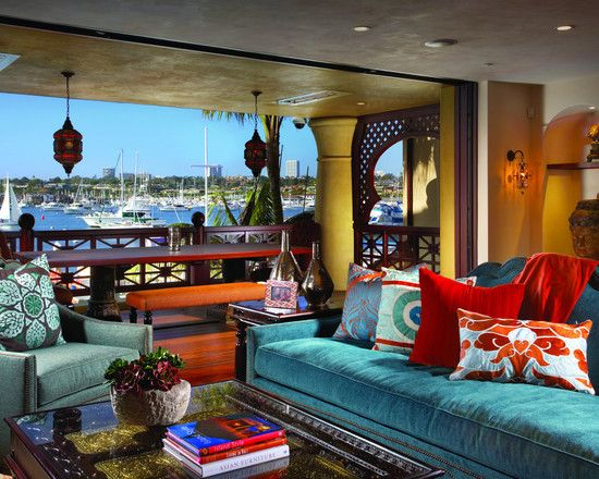 Stunning Moroccan Style Sofa : Wonderful Eclectic Living Room Moroccan  Style Sofa Blue Sofa Teal Velvety