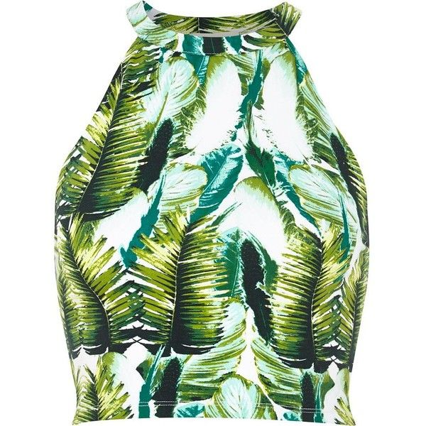 River Island Green tropical palm print crop top (15 AUD) ❤ liked on Polyvore featuring tops, crop tops, shirts, crop, sale, river island, crop shirts, crop top, green crop top and shirts & tops
