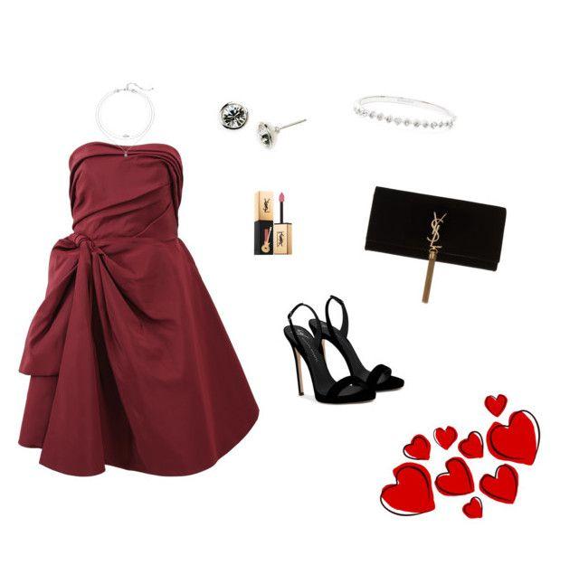"""red dress"" by nanaristha on Polyvore featuring Oscar de la Renta, Giuseppe Zanotti, Givenchy and Yves Saint Laurent"