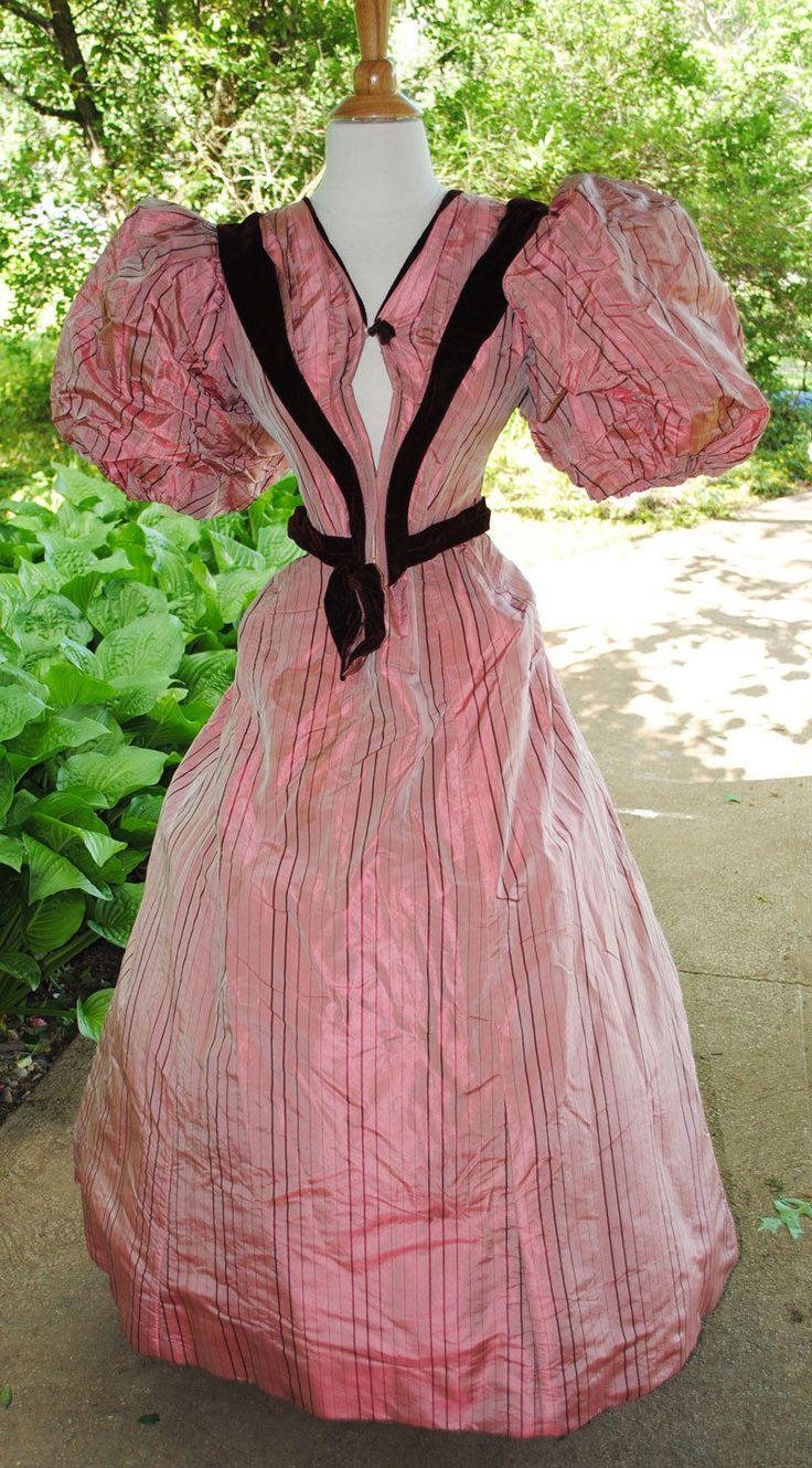 ANTIQUE DRESS 1895 SILK SATIN 2-PC VISITING GOWN MUSEUM DE-ACCESSIONED LABEL | eBay