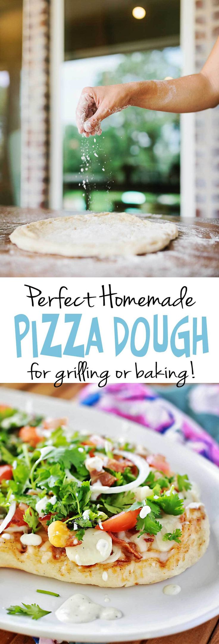 AMAZING homemade pizza dough that is easy and fast to make and tastes MORE THAN GOOD! By Flirting with Flavor.