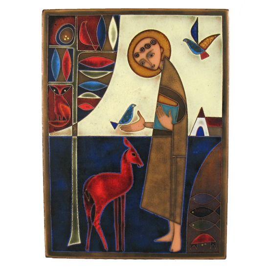 Vintage Saint Francis Enamel on Copper  #huntersalley