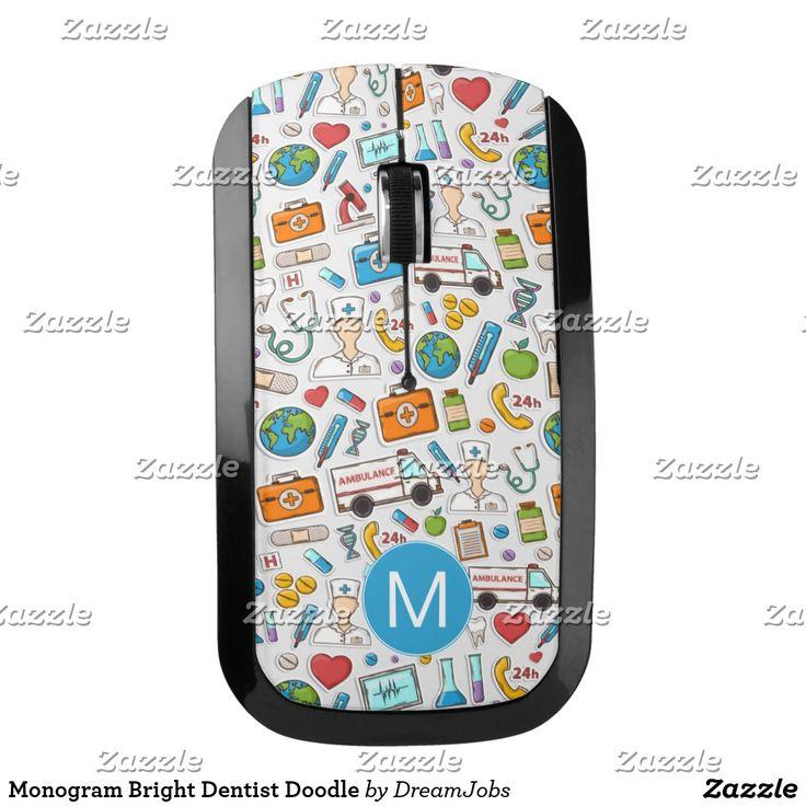 Monogram Bright Dentist Doodle. Producto disponible en tienda Zazzle. Tecnología. Product available in Zazzle store. #wireless #mouse