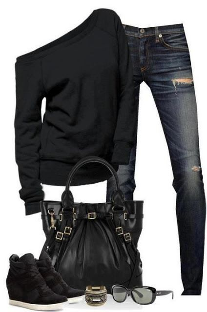 Black sweater, jeans, black bag, glasses and shoes for ladies. So cute!