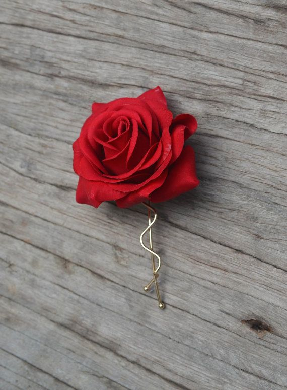 Wedding Flower Hair Clip-Real Touch Red Rose Hair от DexinFloral