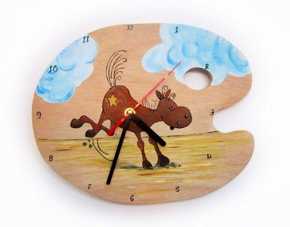 Wall Clock -Horse hand painted clock -Kids Clock -Wooden painting pallet clock- Kids Bedroom - Baby Nursery decor- Little Boy - Little Girl.