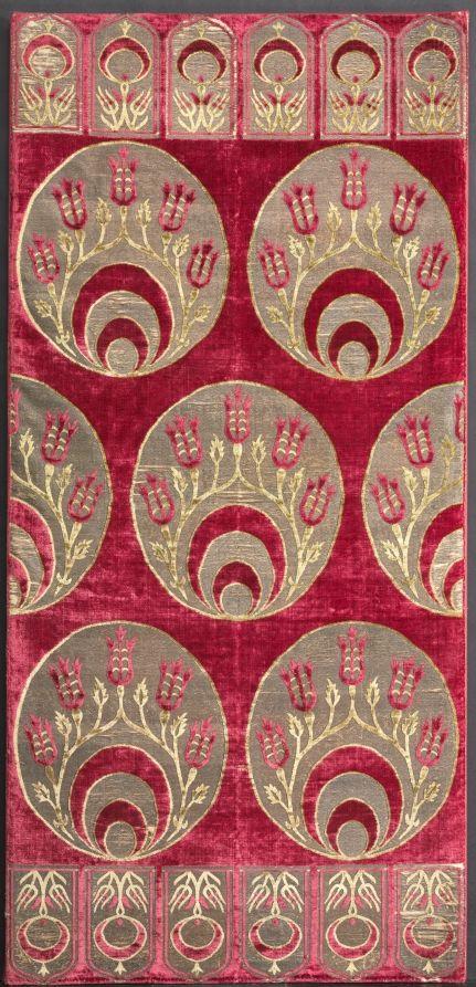 Brocaded Velvet Cushion Cover, c. mid 16th century Turkey, Istanbul or Bursa, Ottoman period, 16th century silk, gilt-and silver-metal thread, cotton; brocaded velvet