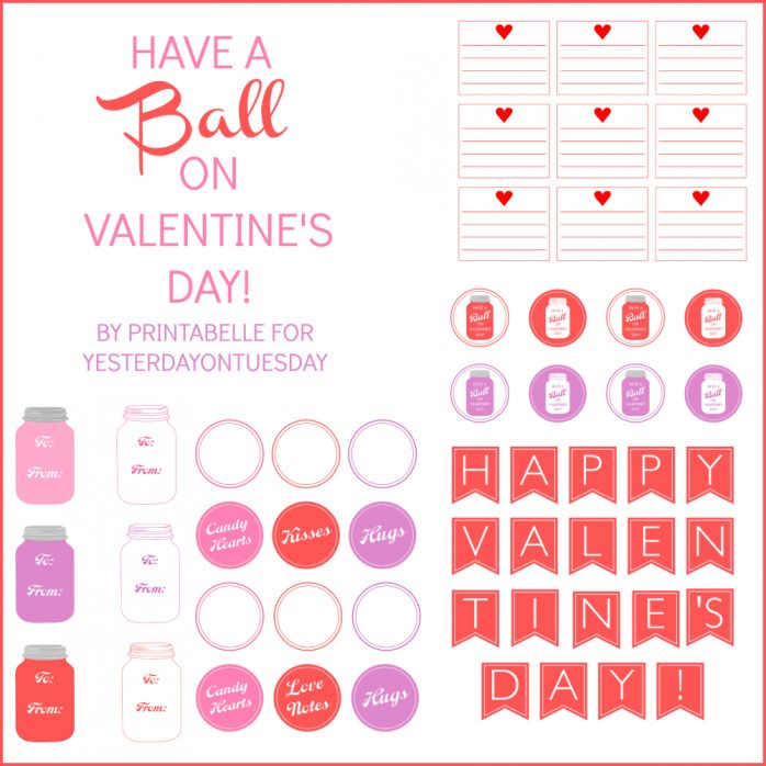 Mason Jar themed set of Valentine's Day printables including love notes, tags, a mini banner and more from http://yesterdayontuesday.com #masonjars #valentinesday