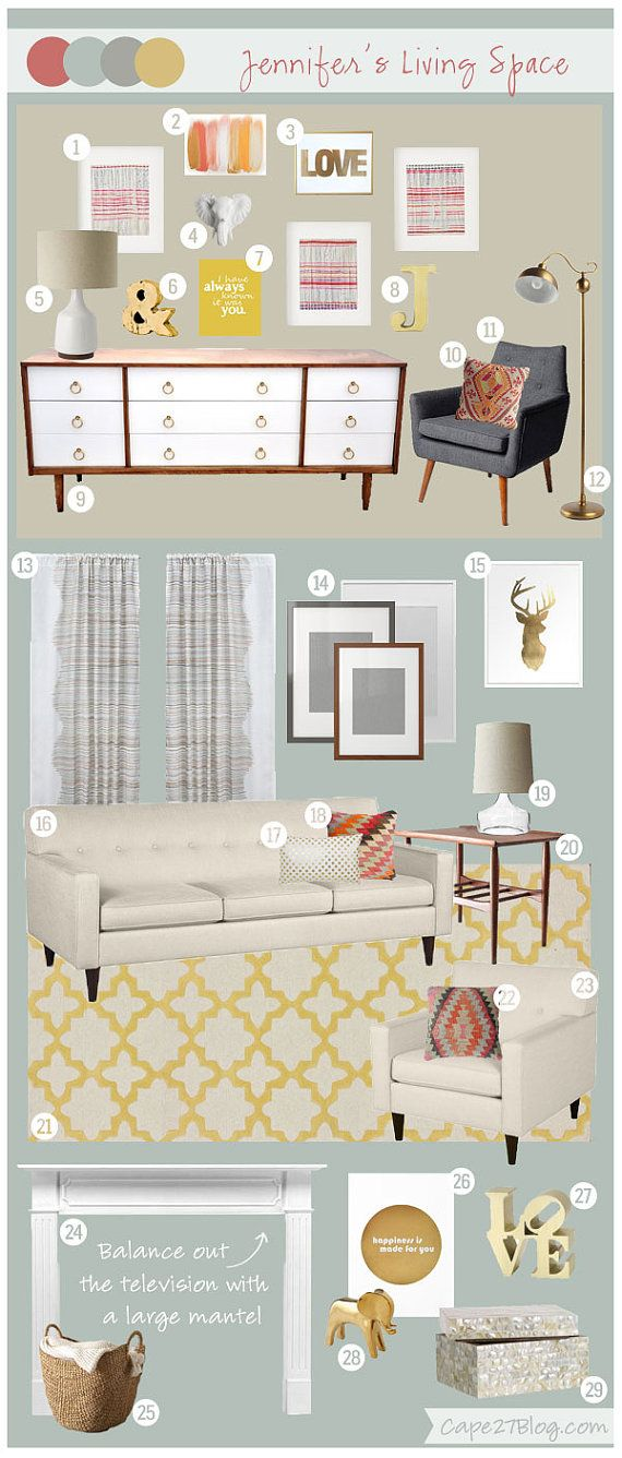 Online Room Remodel Design: Mood Board. E-Design. Interior Designer. Online By Cape27