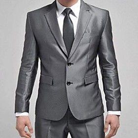 Men's Slim Small Suit Silver Two Buckle Korean Dress Suit (Blazer With Pants)