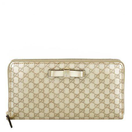 Gucci Kleinleder – Leather Zip Around Wallet Signature Gold – in gold – Kleinleder für Damen