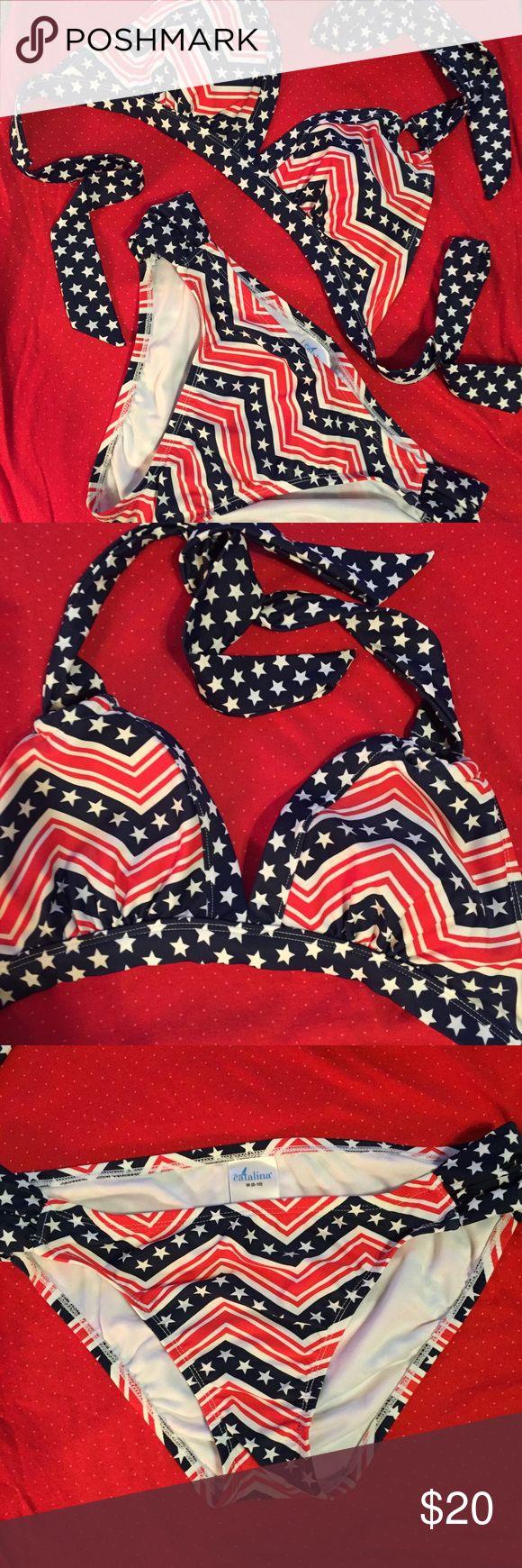 🇱🇷🇱🇷Stars and Stripes Bikini🇱🇷🇱🇷 2 piece Stars and Stripes bikini. Top has padding that can be removed. From non smoking home. Catalina Swim Bikinis