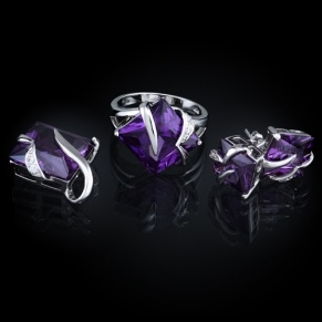sterling silver square cubic zirconia wedding set - modern purple color