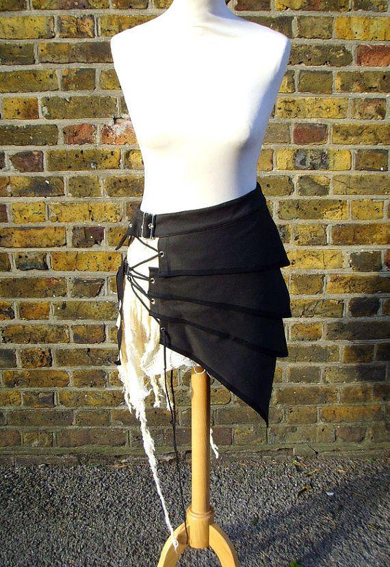 Post apocalyptique plus asymétrique jupe vêtements mode alternatif blanc noir
