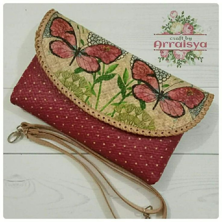 Découpage on Pandanus Woven Clutch with strap