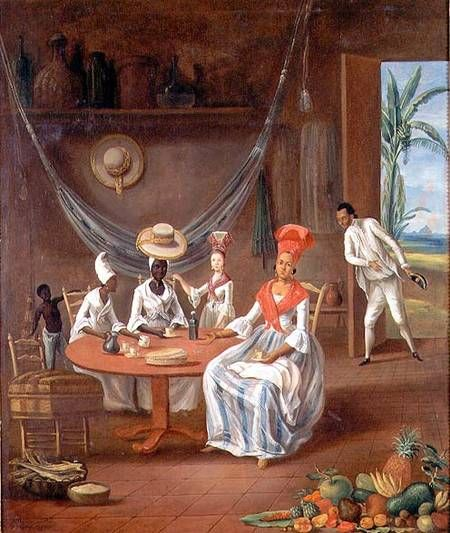 Le  Masurier-A Mulatto Woman with her White Daughter Visited by Negro Women in their House in Martinique