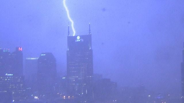 This is the Bell South Bldg in Nashville, Tn. We lovingly call it the Bat Tower. This picture was taken during a bad storm by Channel 2 News mounted camera.