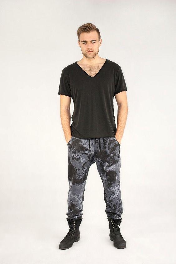 Spodnie męskie FIT w Łaty