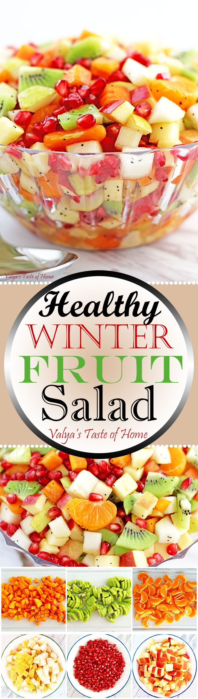 What is there not to like about this scrumptious, fresh and beautiful winter salad that is loaded with nutrients and vitamins we all need to complete our daily #fruit serving during cold weather months? This salad is so easy to make and can be a great addition to your meal as a dessert or a healthy snack any time the day.