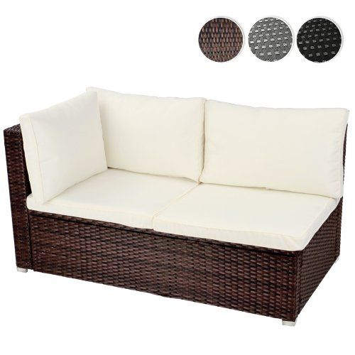 miadomodo rtsf04 polyrattan corner sofa 130 x 71 x 63 cm different colours brown miadomodo. Black Bedroom Furniture Sets. Home Design Ideas