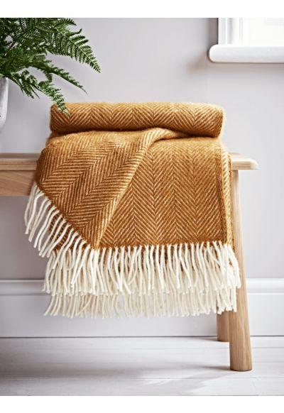 Soft Wool Throw - Ochre - 50% Off - Sale