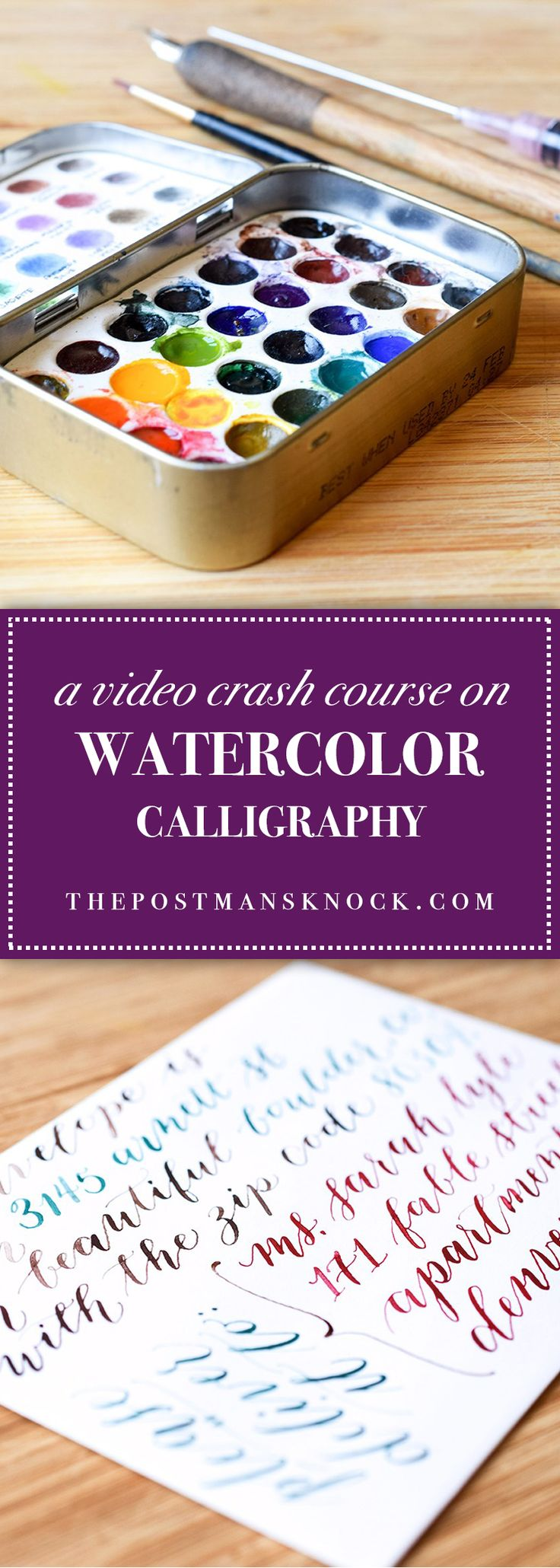You don't need ink to create dip pen calligraphy ... try painting watercolor on the back of your nib to make watercolor calligraphy! Detailed tutorial with videos.