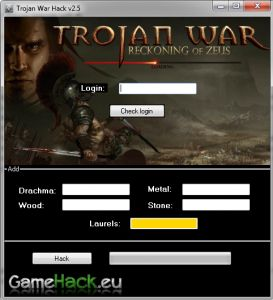 "Hack the game Trojan War: Reckoning of Zeus allows us to very quickly find themselves among the top players. It adds the most important raw materials of the game and paid ""Laurels"". Thanks to the program you will save money and time, and can stay in the top ranks. Gamehack.eu Group is constantly working to all the software worked as it should, update is automatic.Group GameHack.eu    http://gamehack.eu/2012/trojan-war-reckoning-zeus-hack-v2-5/"