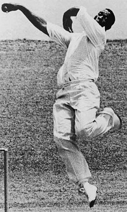 Wes Hall (Sir Wesley now): one of cricket's more dramatic actions.