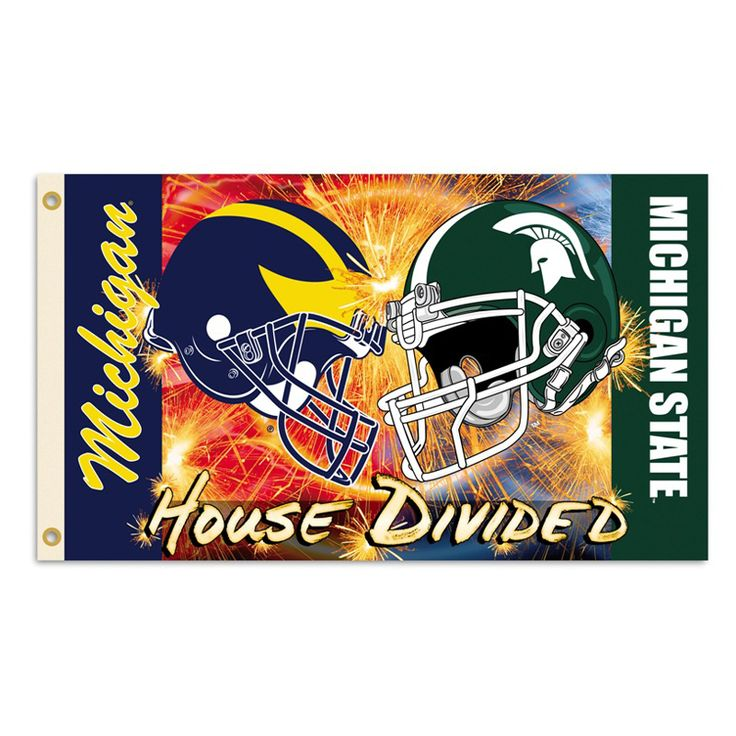 funny michigan state vs michigan pics | Michigan vs. Michigan State 3ft x 5ft Team Flag; House Divided Helmet ...
