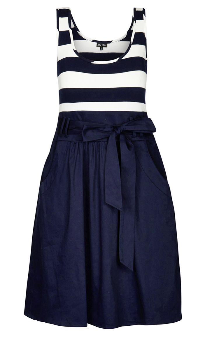 City Chic - CUTE SAILOR DRESS - Women's Plus Size Fashion
