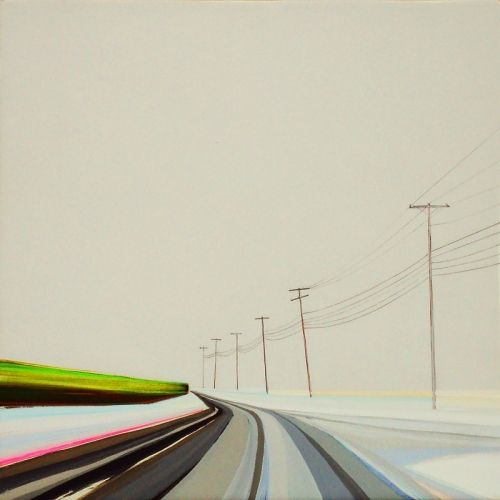 """Grant Haffner """"Scuttle Hole Road Winter""""  Acrylic and graphite on wood panel, 2012  12 x 12 inches Signed, titled and dated verso"""