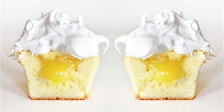 Vanilla Cupcakes with Lemon Filling and Meringue Frosting