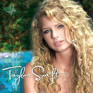 A female teen with blond hair and blue eyes faces forward from a tilted position. Behind her is what appears to be a body of water and green bushes. Patterns resembling flowers and butterflies are drawn in the left side of the background.