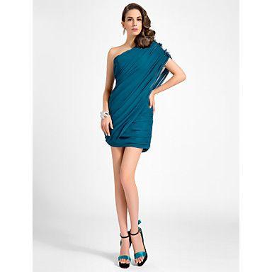 vestido+de+cóctel+del+regreso+a+casa+-+azul+más+tinta+de+los+tamaños+de+la+vaina+/+columna+de+un+hombro+a+corto+mini+gasa+/+–+EUR+€+88.19