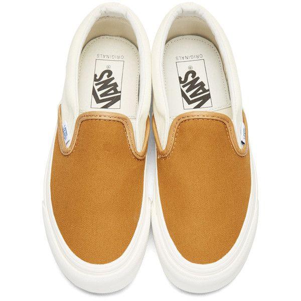 Vans Brown OG Classic Slip-On Sneakers (£47) ❤ liked on Polyvore featuring shoes, sneakers, brown sneakers, leather slip-on shoes, leather trainers, brown leather sneakers and slip on shoes